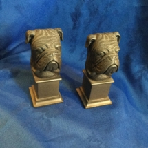 Pair of cold cast bronze bulldog heads