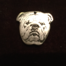 Silver bulldog head pendant