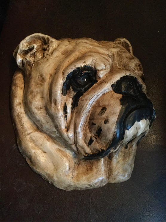 Terracotta bulldog head (large)