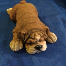 Resin marble lying bulldog