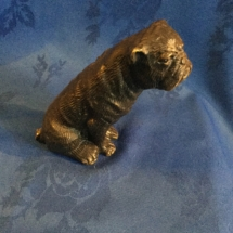 Tall bronze seated bulldog 2