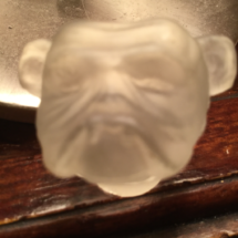 Small glass bulldog head