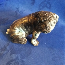 Vintage bronze bulldog with oxidised areas