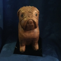 Vintage wooden carved bulldog