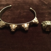 Silver bangle and brooch