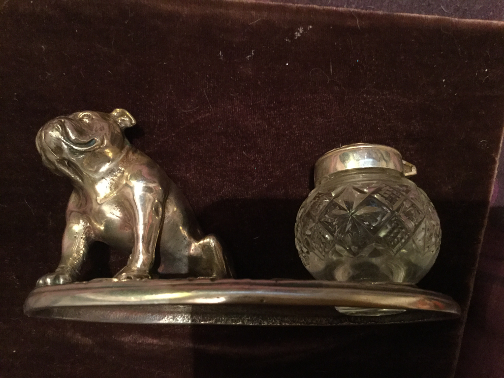 Silver seated bulldog inkwell stand