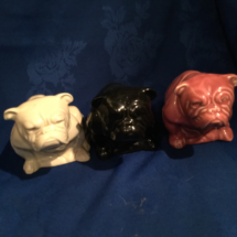 Coloured Seated Doulton Bulldogs
