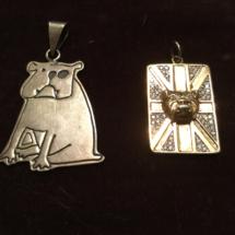 2D silver bulldog pendants