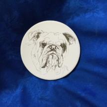 White ceramic bulldog plaque