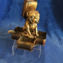 Vintage bulldog match holder and tray holder