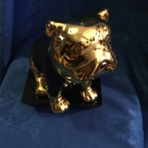 Gold tone bulldog money bank