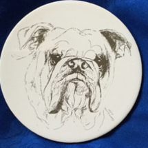 A ceramic bulldog plaque