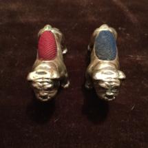 Vintage miniature silver pincushions