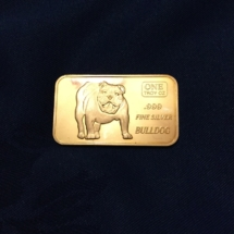 one ounce silver bulldog bar