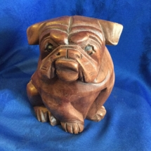 Small wooden bulldog