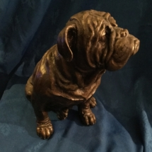 Very large seated bronze bulldog
