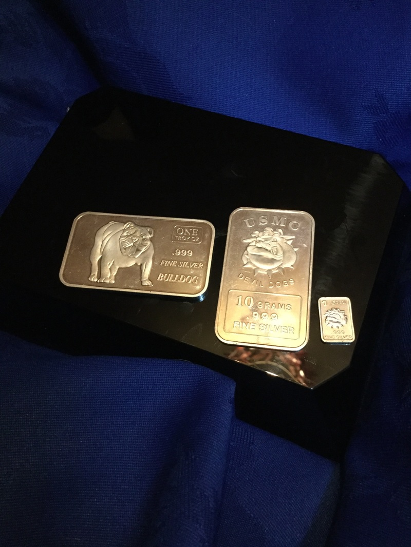 different weighted bulldog silver bars