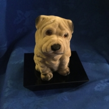 vintage fleck covered bulldog money holder