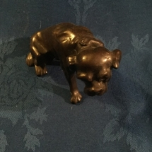 Small bronze seated bulldog