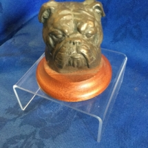 Bronze bulldog head on base signed