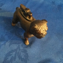 Vintage copper Standing bulldog desk lighter