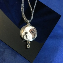 Pebble painted bulldog pendant signed