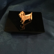 Small art deco Singapore airlines metal bulldog