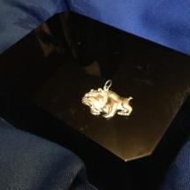 Sterling silver 2D bulldog pendant