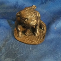 Cold cast bronze seated bulldog