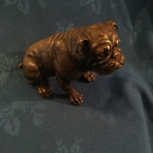 Bronze seated bulldog