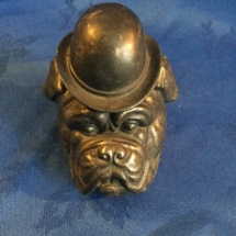 Vintage metal bulldog head ink well 1