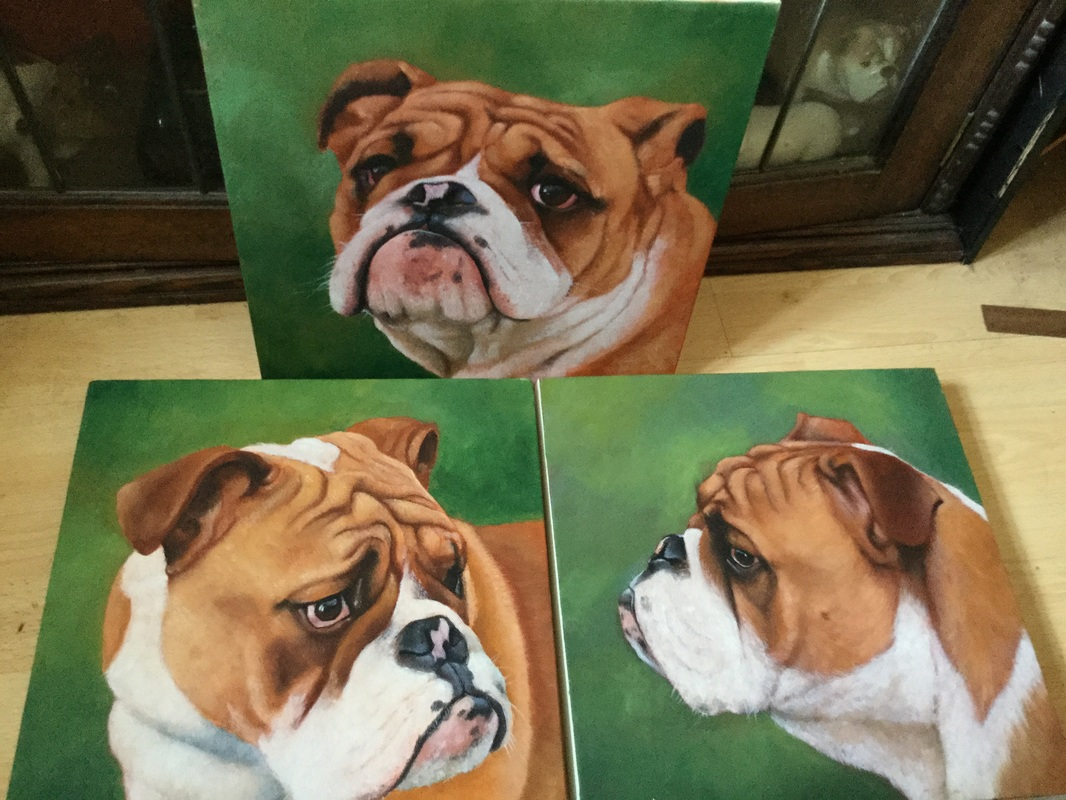 Set of three paintings