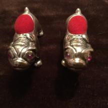 Modern silver bulldog pincushions