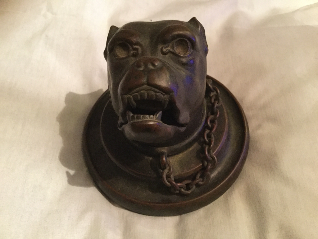 Olde style spot on antique bronze inkwell