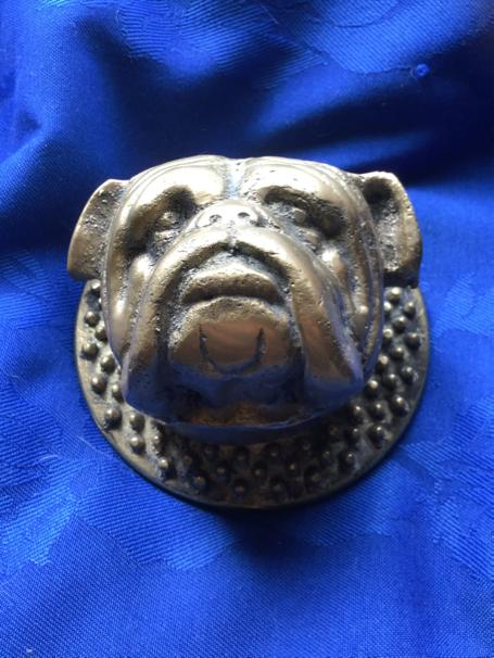 Stunning solid bulldog head door knocker