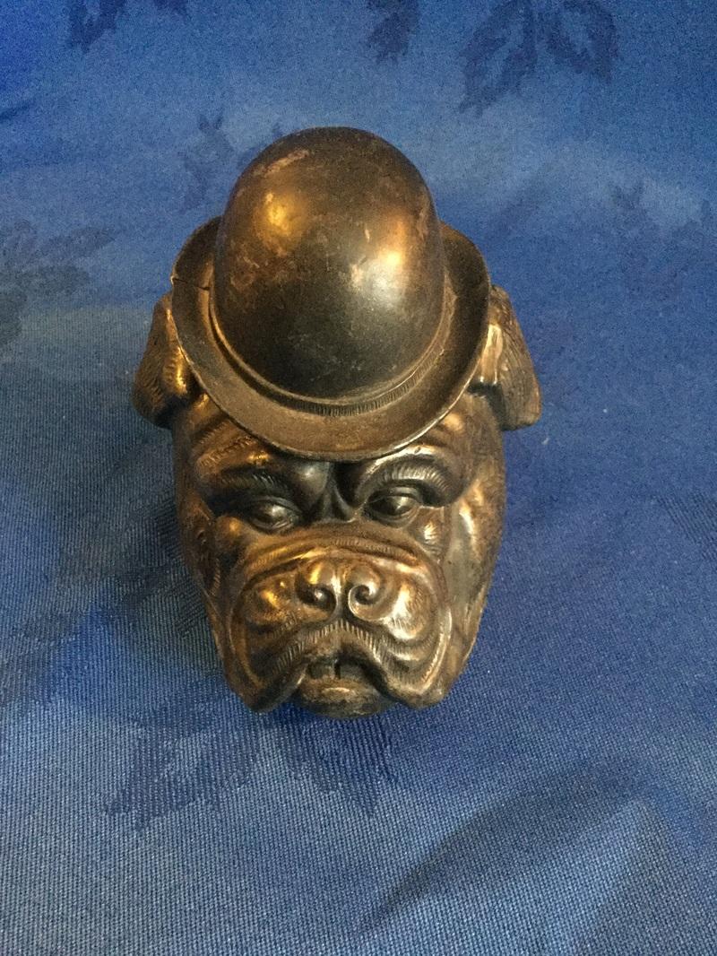Vintage metal bulldog head ink well 1