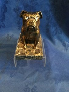 Metal seated bulldog on marble base